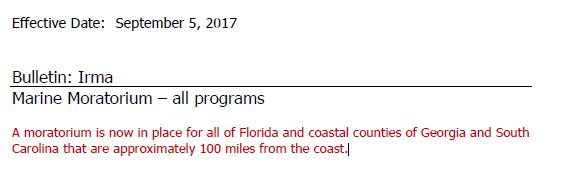 Irma Moratorium